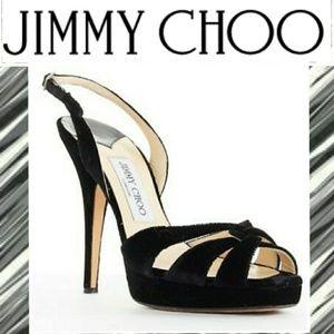 JIMMY CHOO VELVET SLING BACKS